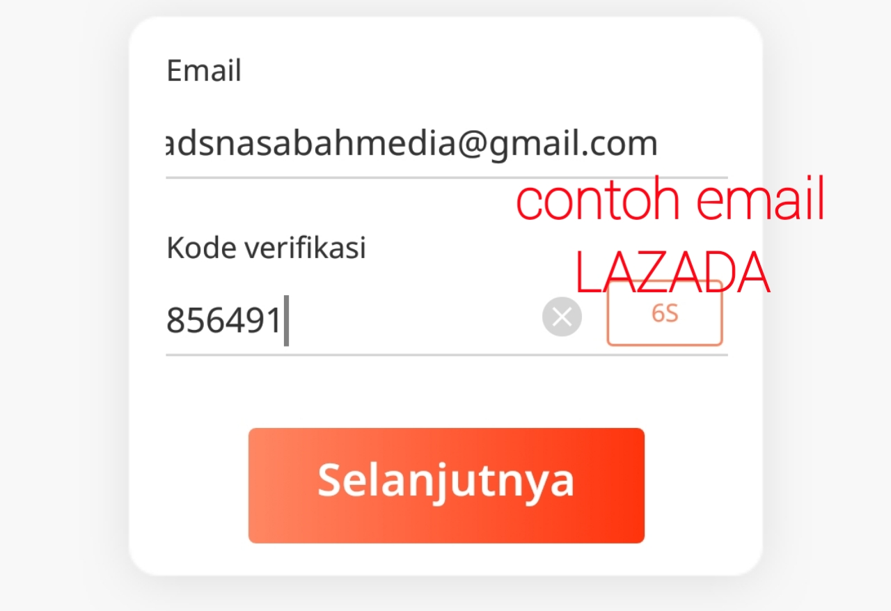 contoh password lazada
